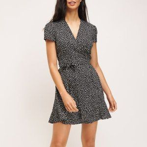 Dynamite Black Spotted Wrap Fit and Flare Dress